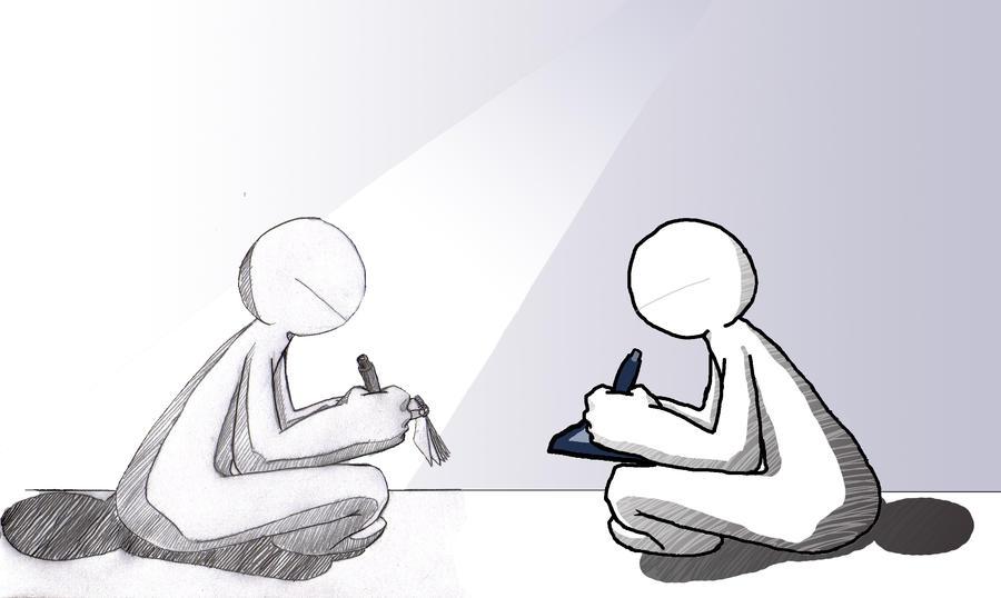 traditional-art vs digital-art by chukadrawer