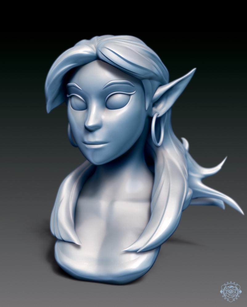 Elf Girl Bust by chemb0t