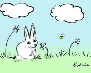 Rabbit Sitting Outside by AwakeNight