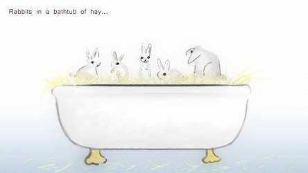 Rabbits in Bathtub of Hay by AwakeNight