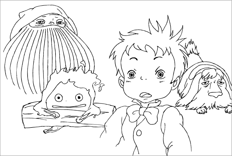 Howl 39 s moving castle 2 by dani sunshine on deviantart for Ponyo coloring pages to print
