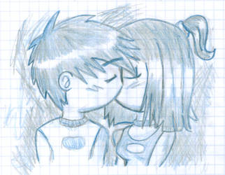 Danny and Sam Kiss by Aleds