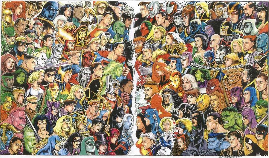 JLA Vs. Avengers Colored, 2002 by olybear