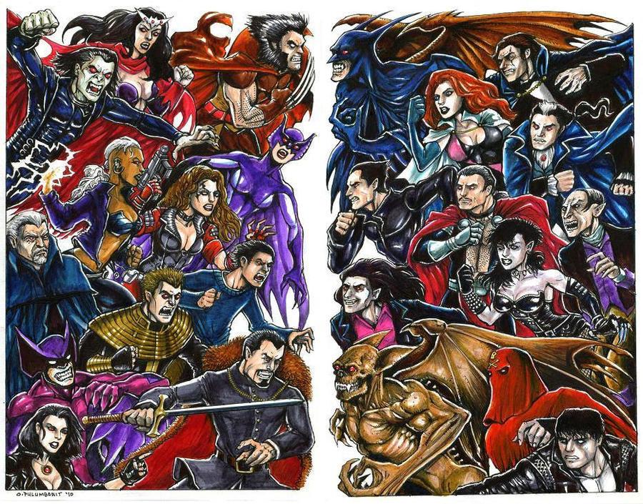 Marvel-DC: Vampire War by olybear