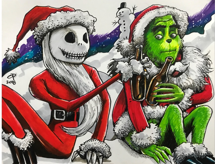 Jack Skellington and the Grinch by olybear