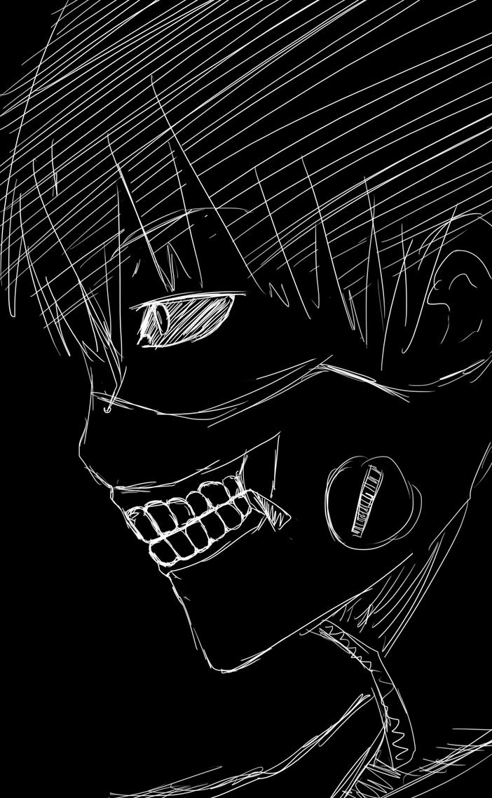 Kaneki Sketch BnW by Zierou