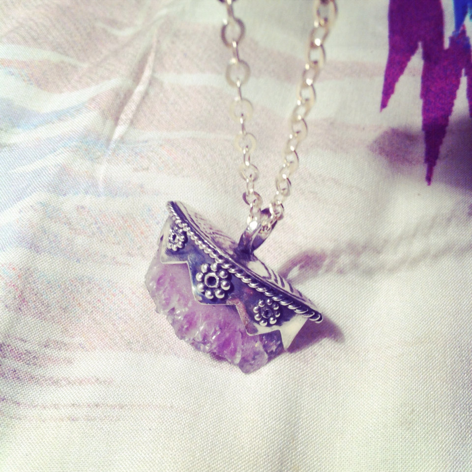 Sterling Silver Raw Amethyst Crystal Necklace by DONBIU on ...