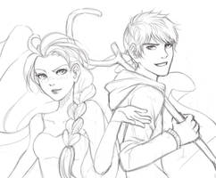 Random Lineart of Jack and Elsa by NohMasked