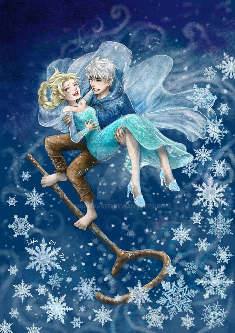 Like an icy blast_ Jack Frost and Elsa by NohMasked