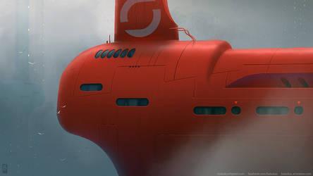 Weird Submarine Skyscraper Penthouse on Misty Day by Balaskas