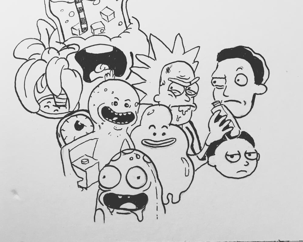 inking #2 (Rick and Morty) by GoldenCam