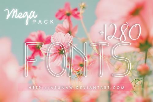 Mega Pack 1280 Fonts by Asunaw