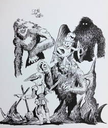 Ink Monsters and Beasts in fantasy settings by BDMcKown