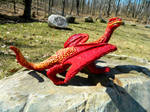 Red Desert Dragon Side View by MsMergus