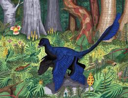 Microraptor Hunting by MsMergus