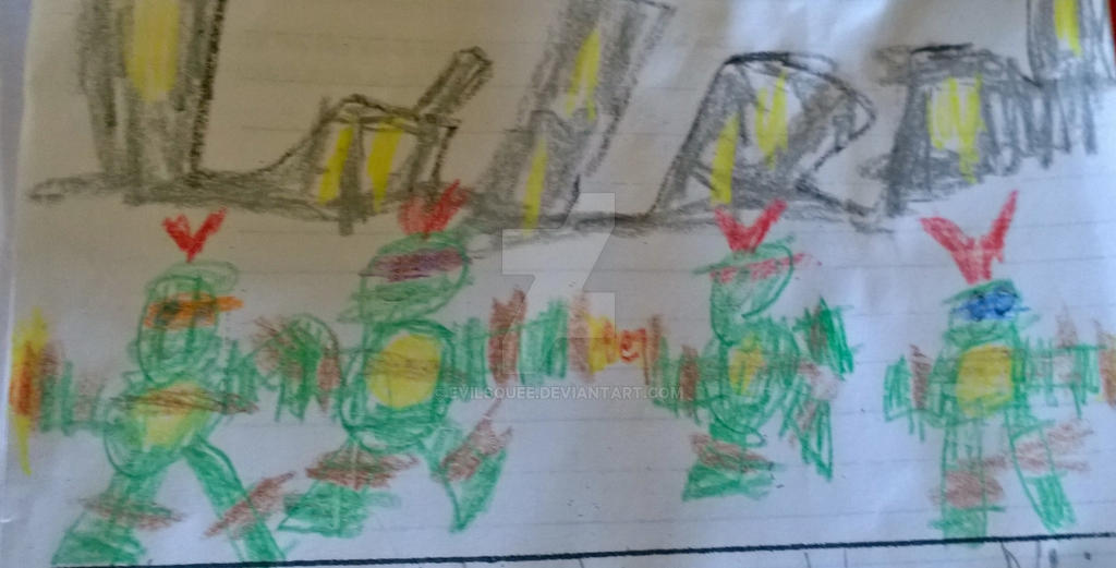 TMNT art by my 7 year old son by evilsquee