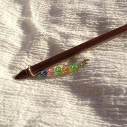 Lettered single hairstick---'Crazy'