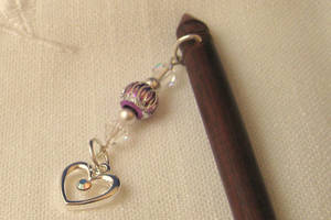 Hairsticks with Swarovski and pewter heart by ErrantDreams