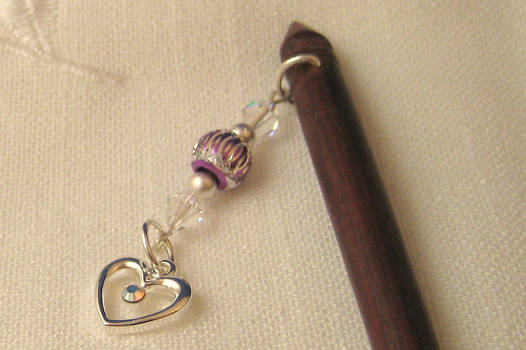 Hairsticks with Swarovski and pewter heart