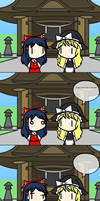 Reimu doesn't approve of Marisa's way of speaking