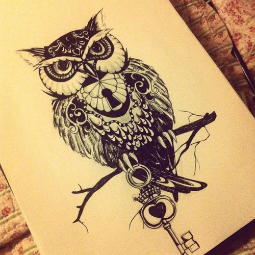 Owl mysterious drawing by kaluha on deviantart for Cool drawings of owls