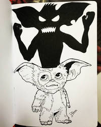 Gizmo from Gremlins in ink by BRosa84