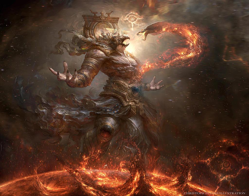 ra Ra combatte contro il serpente Apep (o Apophi) - by trejoeeee DeviantArt (2014-2017) © dell'autore
