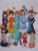 Ghibli Girls coloring W.I.P. by WingedLioness
