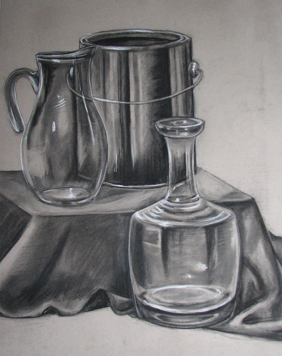 Scribble Drawing Objects : Reflective objects still life hw by wingedlioness on