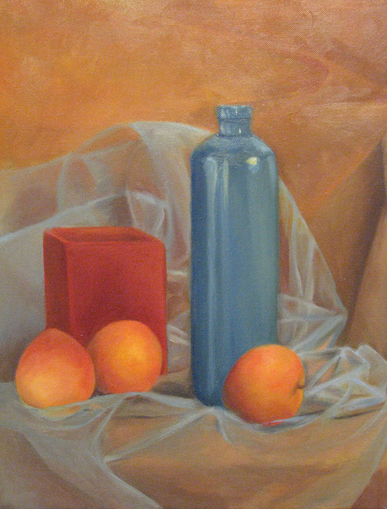 Complementary Color Still Life With Peaches By WingedLioness