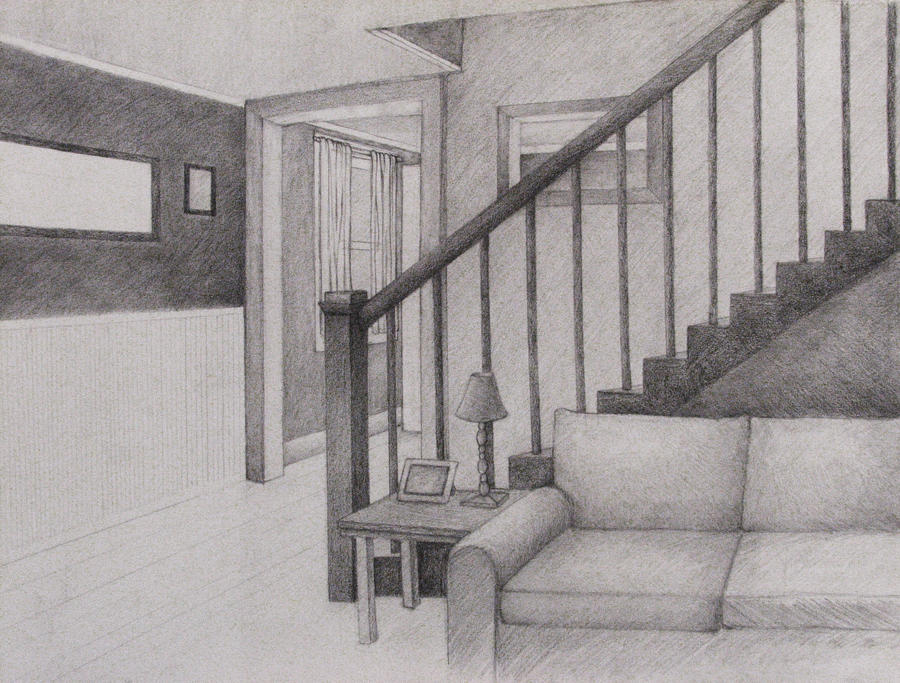 Living room perspective drawing by wingedlioness on deviantart - One point perspective drawing living room ...
