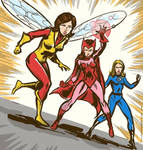Vintage-Style Wasp, Scarlet Witch, Invisible Girl