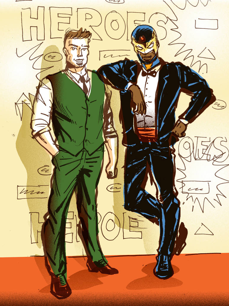 Rhys and Ultimate Power Red Carpet by TheCosmicBeholder