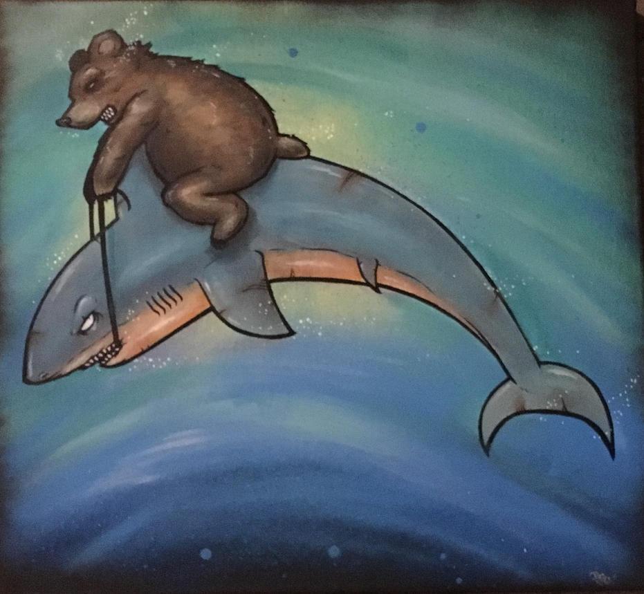 Cali SJ shark rider by Thehuntedartist