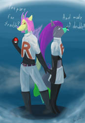 Clio and Alice (furry OCs) in Team Rocket uniform by Petra-K-Z
