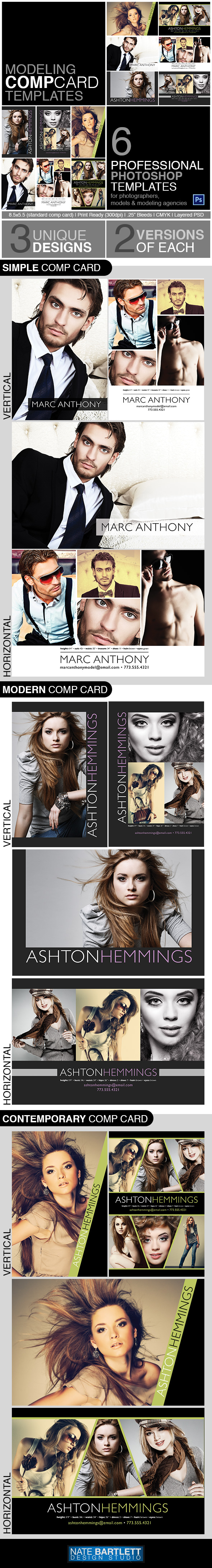 free model comp card template psd - model comp card template kit preview by natebelow0 on