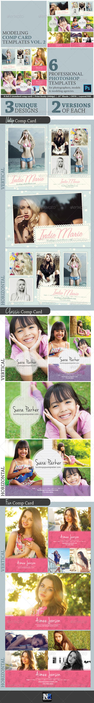 Model comp card template kit vol 2 preview by natebelow0 for Free model comp card template psd