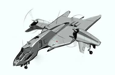 VTOL light bomber by scifieart10000