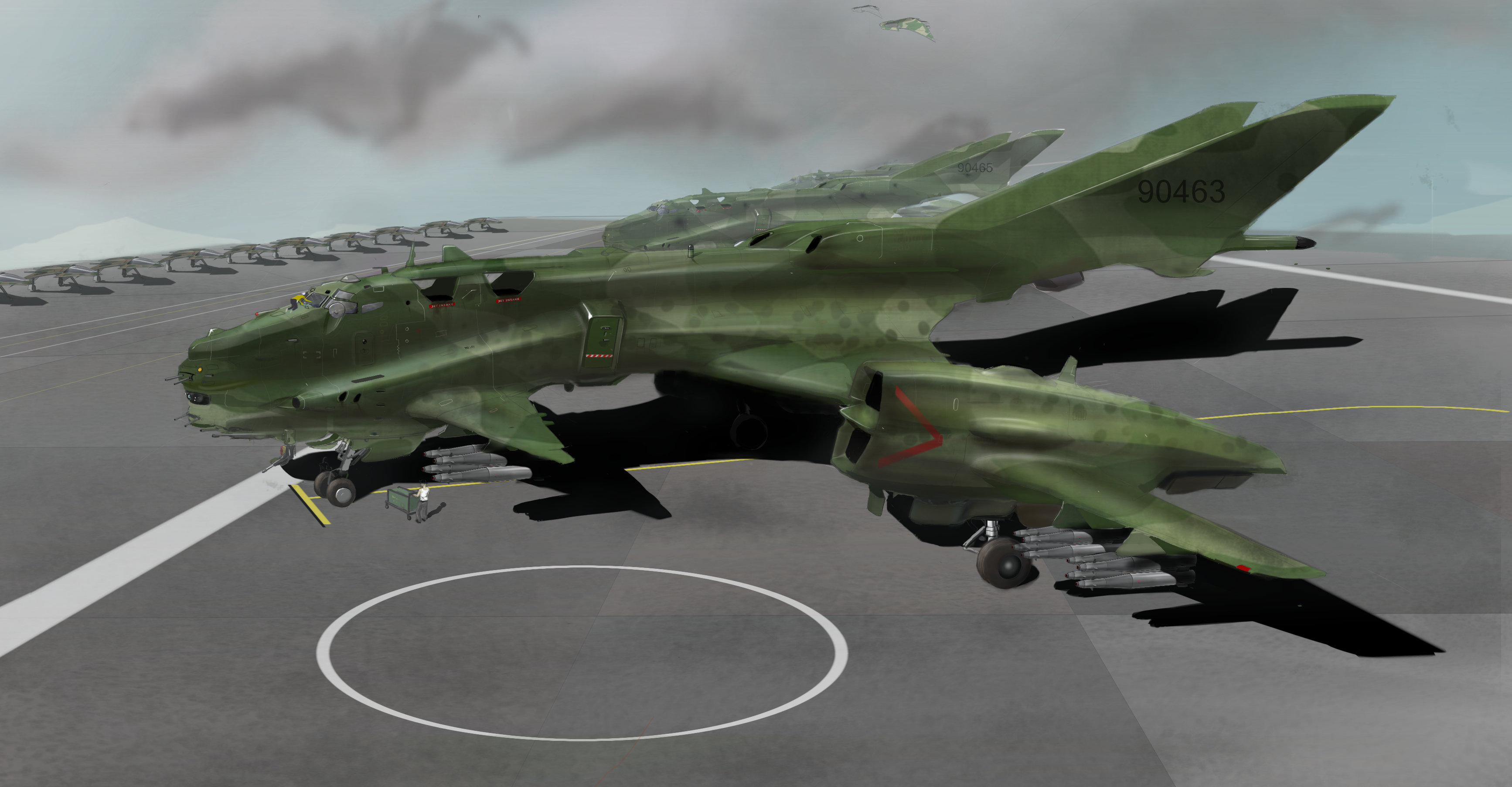 heavy carrier launched STOL gunship/bomber by scifieart10000