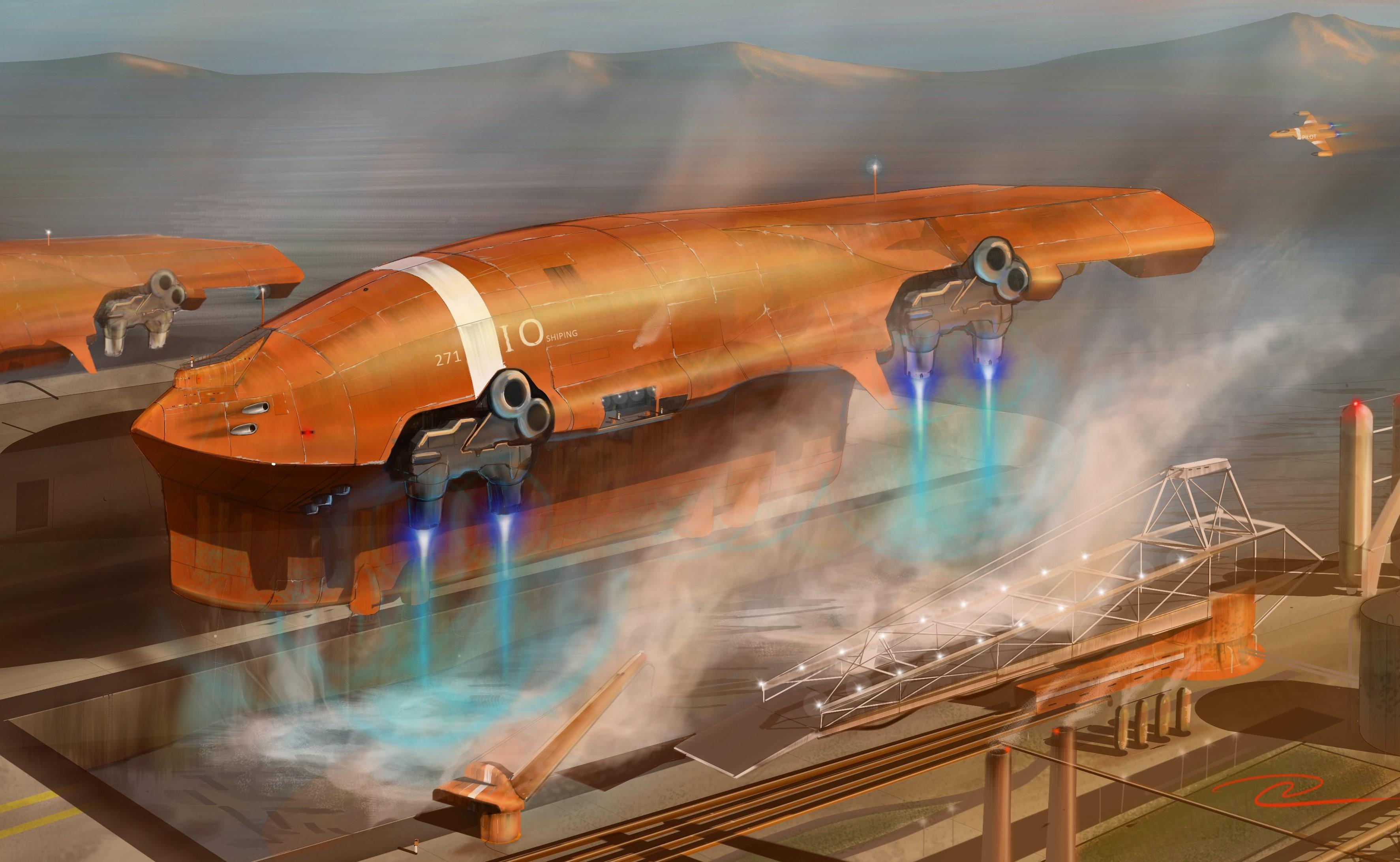 Tanker Starship Water Landing by scifieart10000