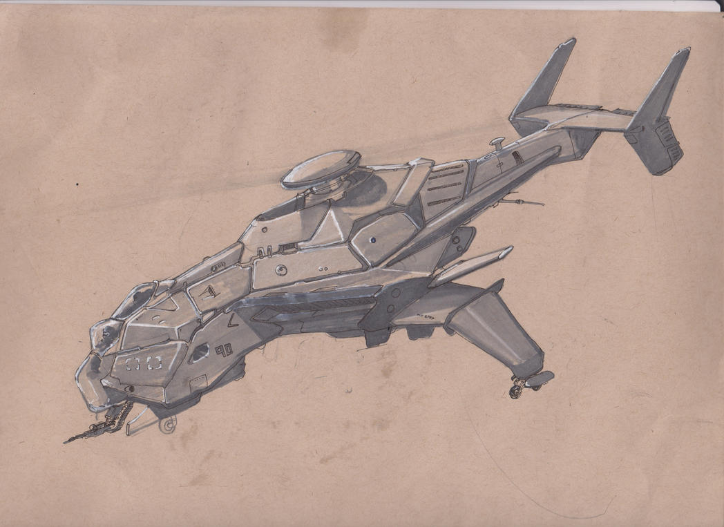 Heavy Helicopter Gunship by scifieart10000