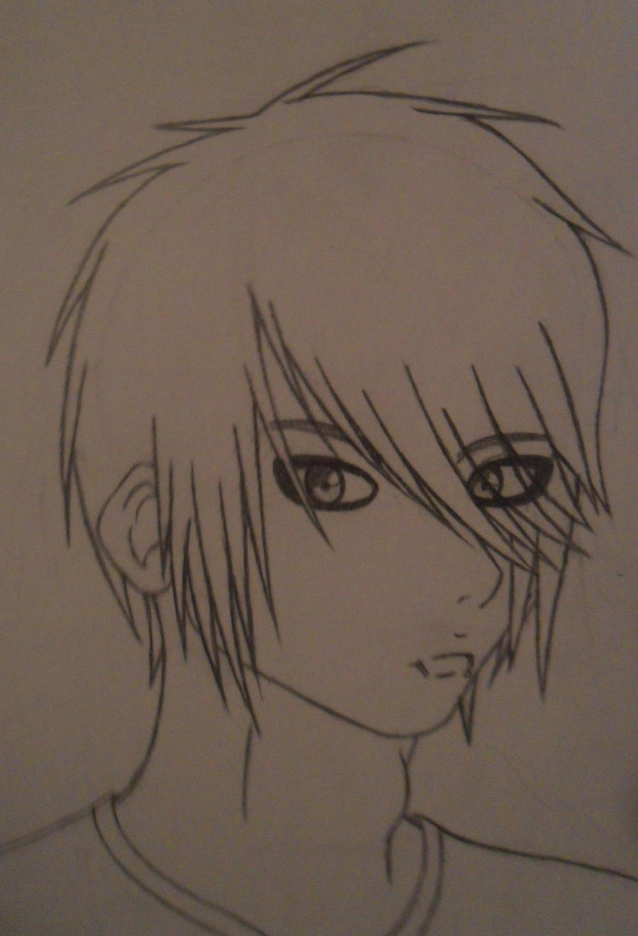 How to draw a simple emo face step 1 - How To Draw Anime Scene Girl Hair Emo Boy Drawing By Amiaice Emo Boy Drawing