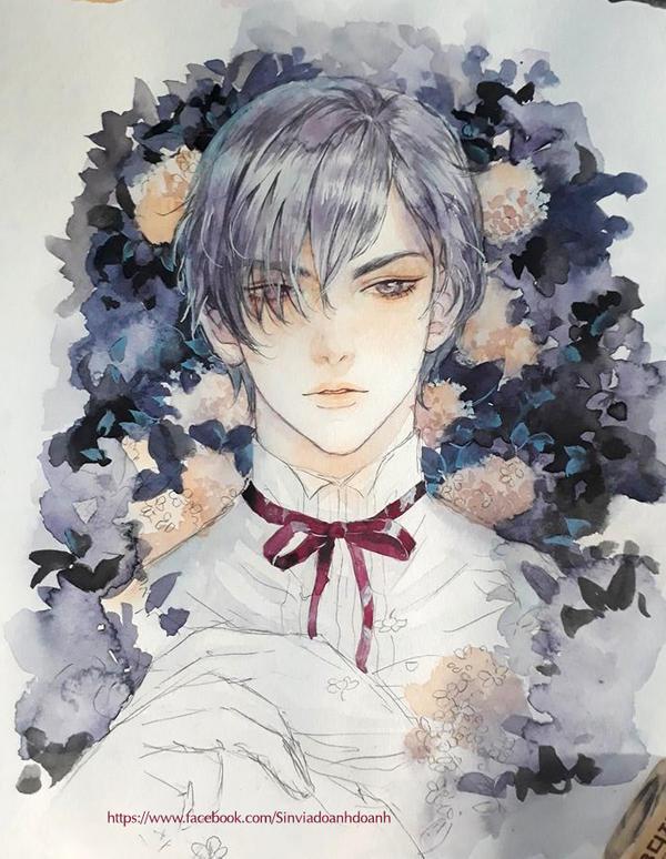Boy over flower