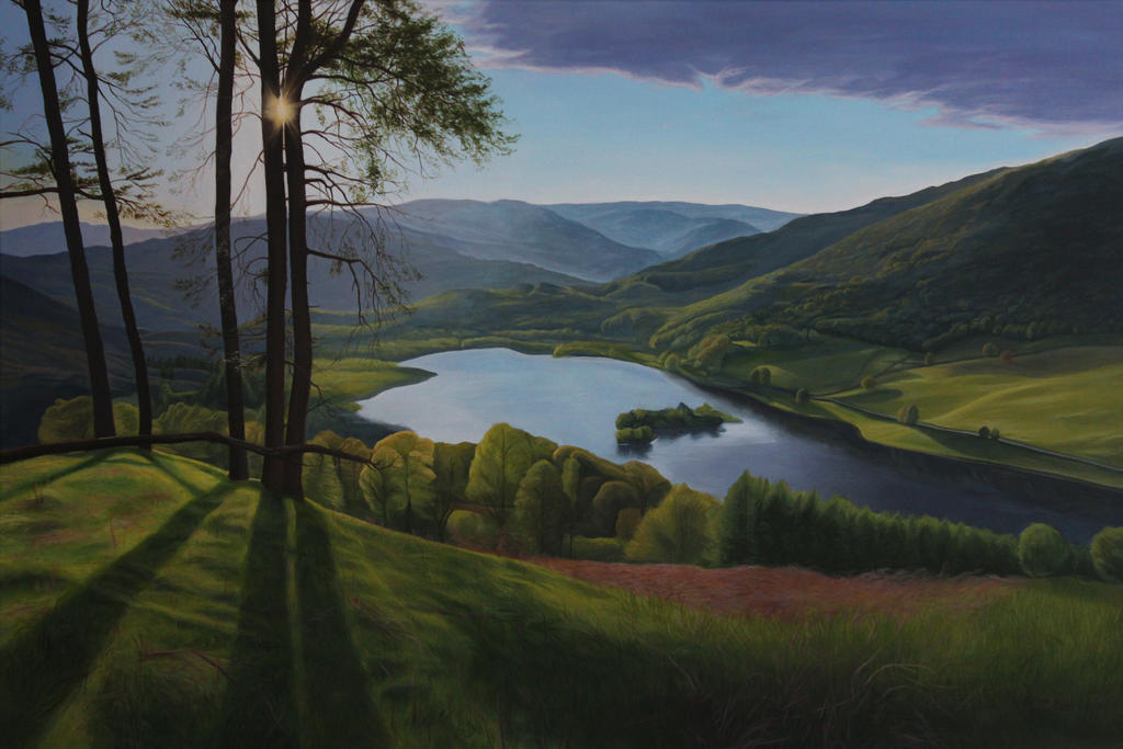 Rydal Water, English Landscape Painting by Mimitchki