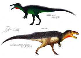 Baryonyx and Acrocanthosaurus by Dennonyx