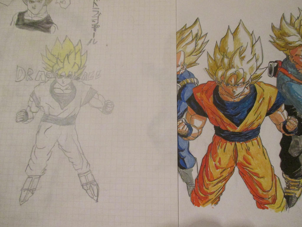 Super Saiyans 2006 vs 2016 by Nekojika