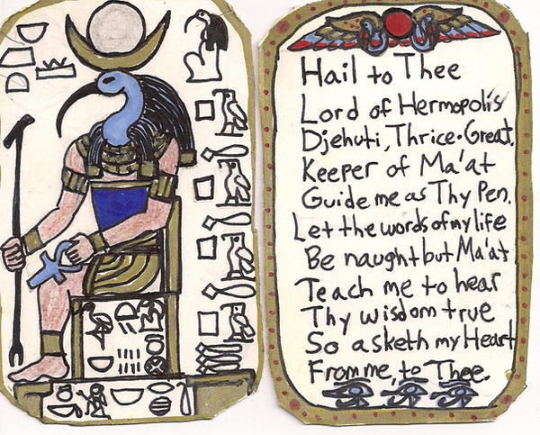 Shrine image+prayer of Thoth by StrandedAlien