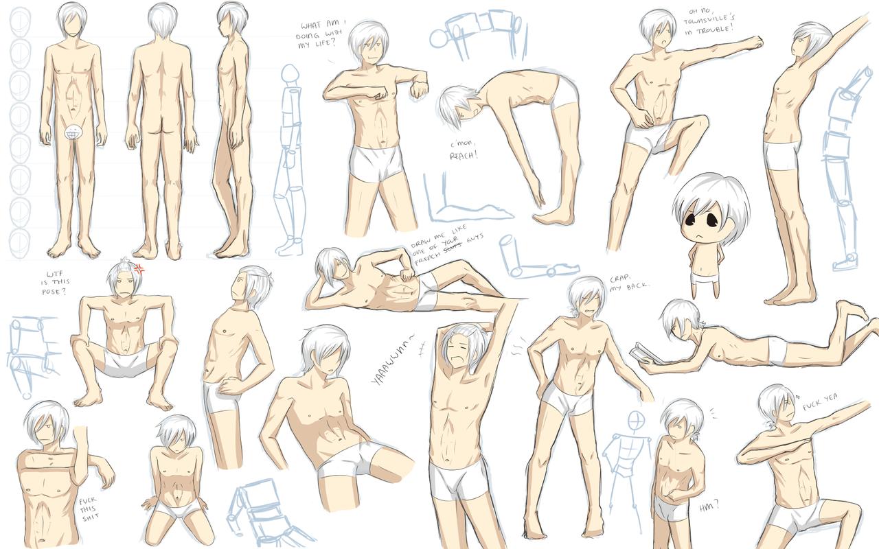 Рисуем позы человека в аниме