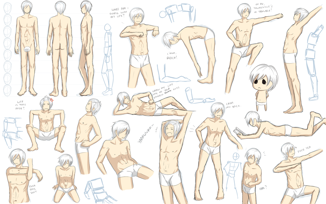 Male anatomy practice by Katkat-Tan