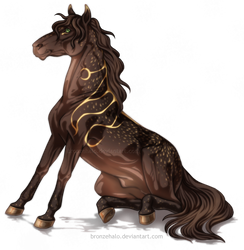 Free lineart: Sitting horse by BronzeHalo